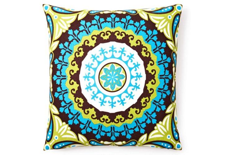 Meisha 20x20 Cotton Pillow, Blue