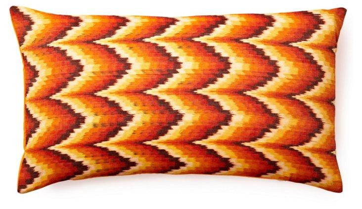 Woven 14x24 Cotton Pillow, Orange