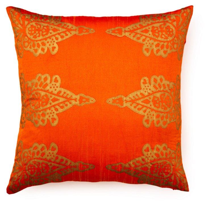 Khari 20x20 Silk-Blend Pillow, Orange