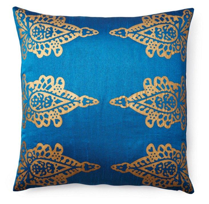 Khari 20x20 Silk-Blend Pillow, Blue