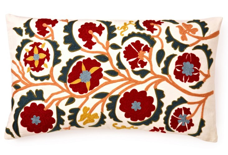 Floral 14x24 Embroidered Pillow, Multi