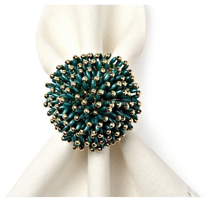 S/4 Sunburst Napkin Rings, Green