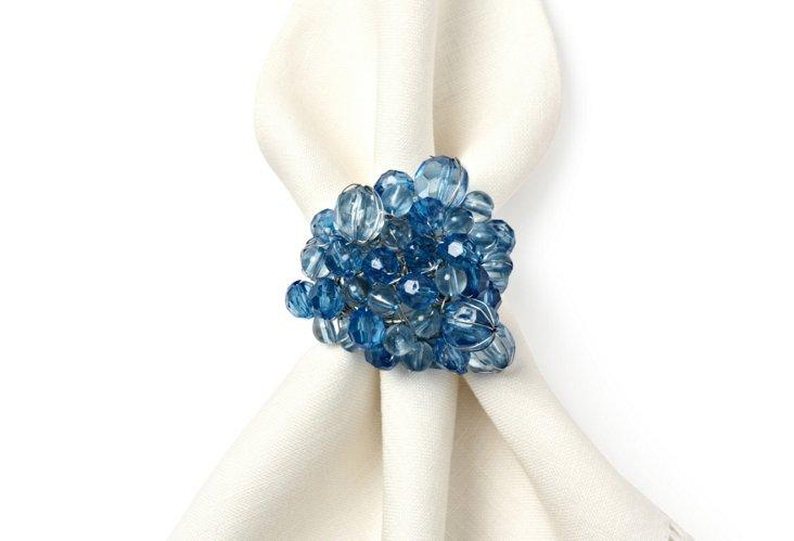 S/4 Round Bubbles Napkin Rings, Aqua