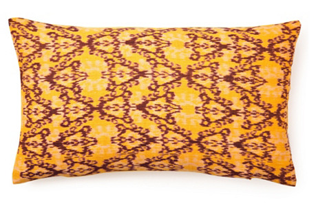 Ikat Pattern 14x24 Cotton Pillow, Yellow