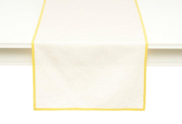 Flax Linen Runner, Yellow