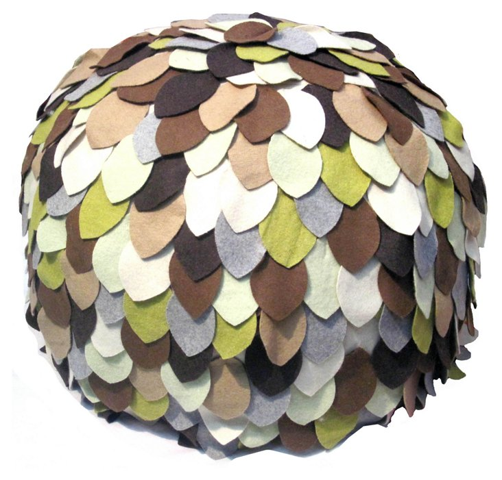 Earth Pouf, Ivory/Brown