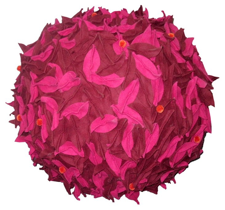 Leaves Pouf, Plum/Pink