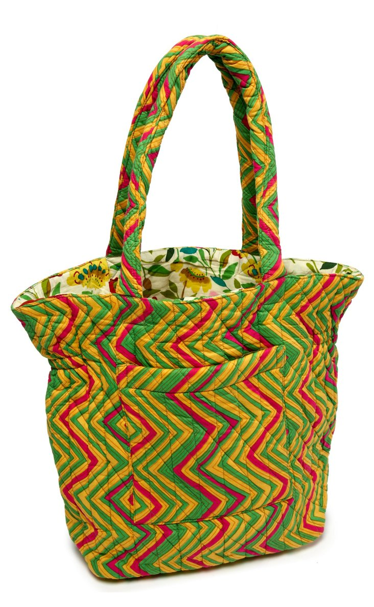 Eddie Chevron Quilted Cotton Tote, Lime
