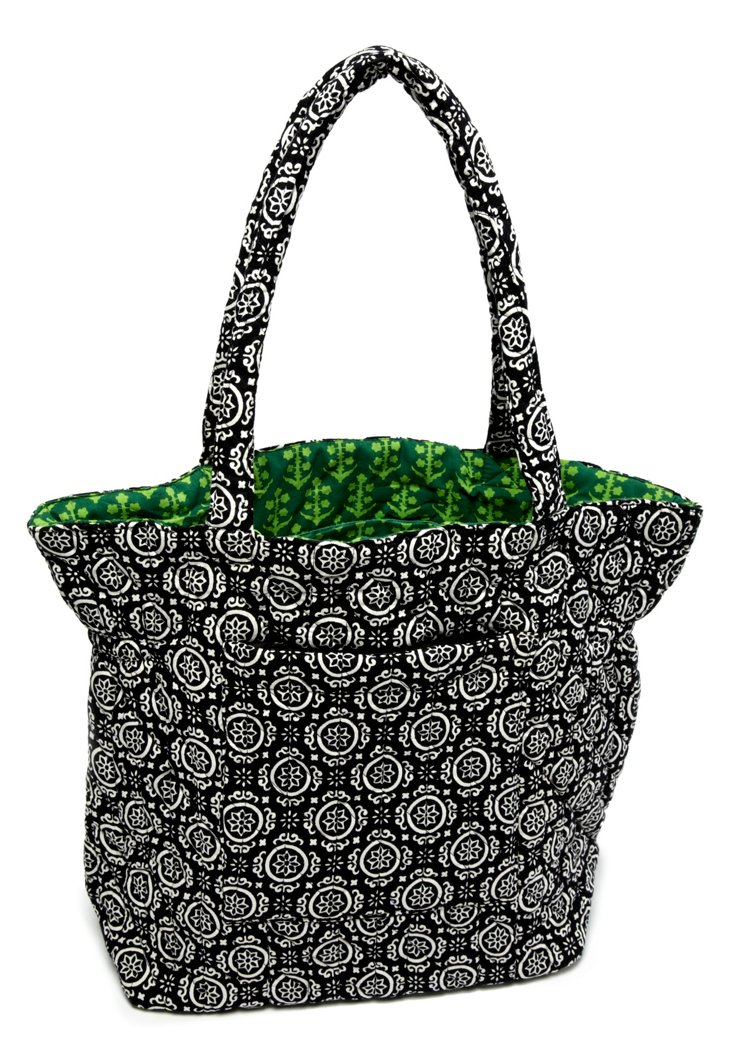 Sienna Block Quilted Cotton Tote, Black