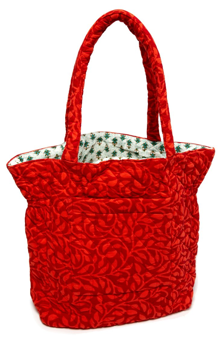 Mona Scroll Quilted Cotton Tote, Red