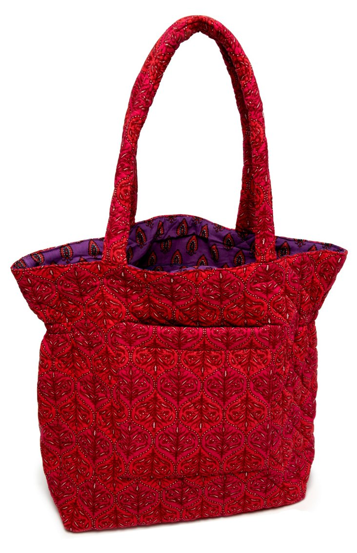 Lizzie Floral Quilted Cotton Tote, Red