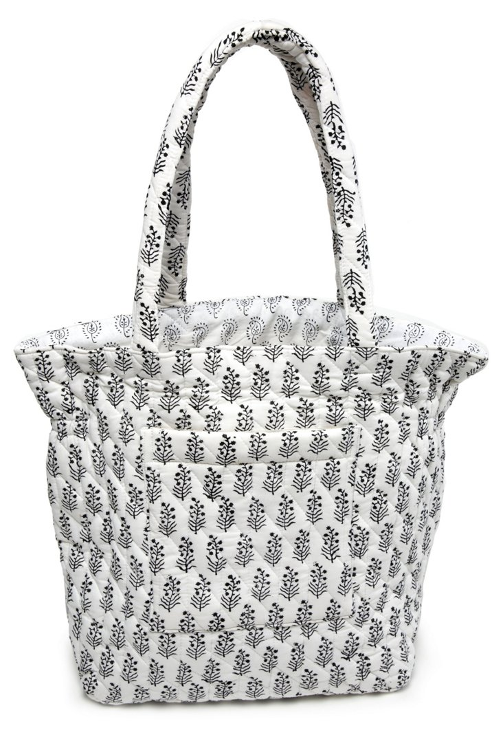 Taylor Block Quilted Cotton Tote, White