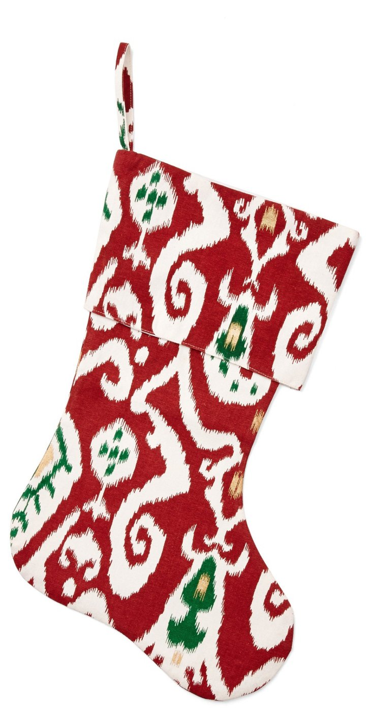 "15"" Ikat Stocking, Red/Green"