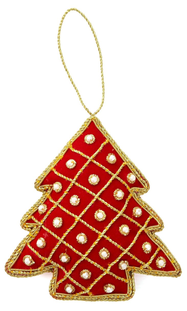 Embroidered Tree Ornament