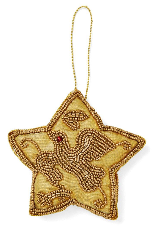 "4"" Ornament w/ Beading, Gold"