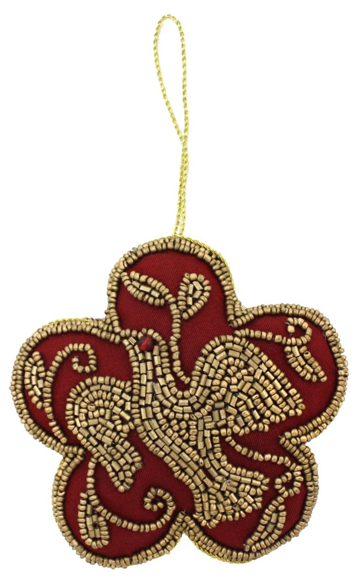 """4"""" Beaded Bird Ornament, Red/Gold"""
