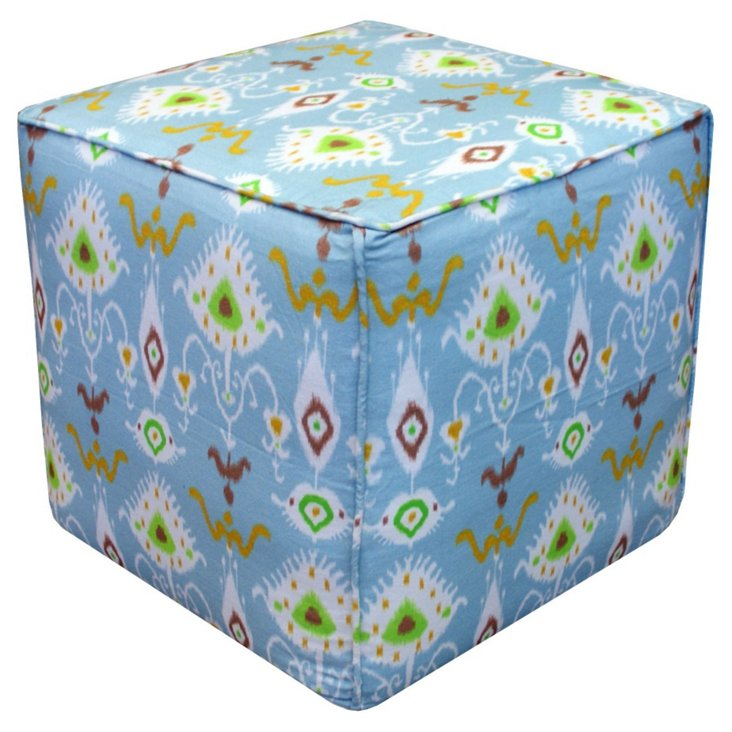 Henry Tribal Ikat Pouf, Light Blue/Multi