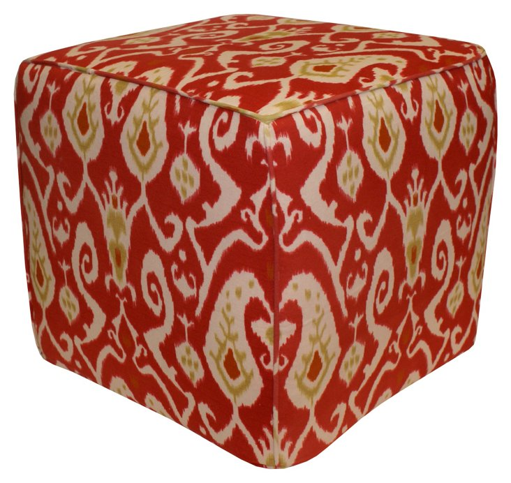 James Ikat Pouf, Red