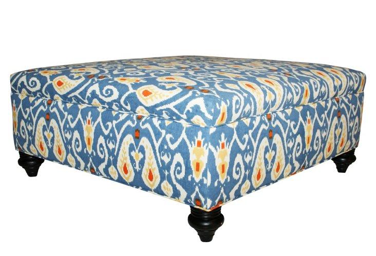 Freya Ikat Ottoman, Blue