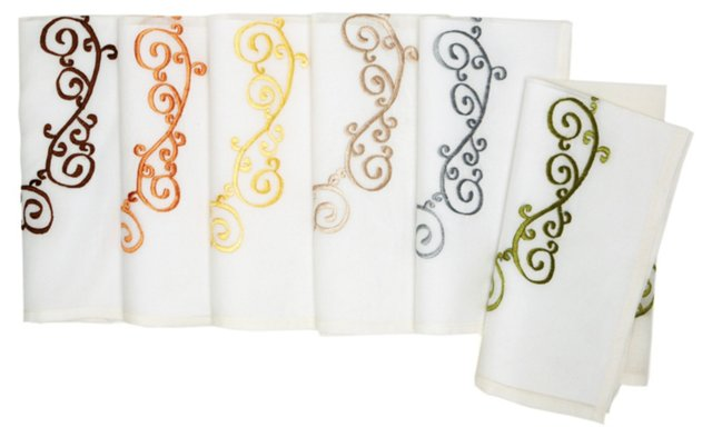 S/6 Scroll Embroidered Napkins
