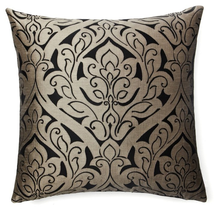 Fontainebleau 20x20 Pillow, Pewter/Black