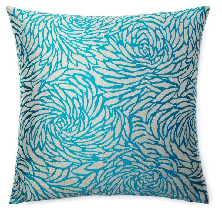 Jardin 20x20 Pillow, Aqua