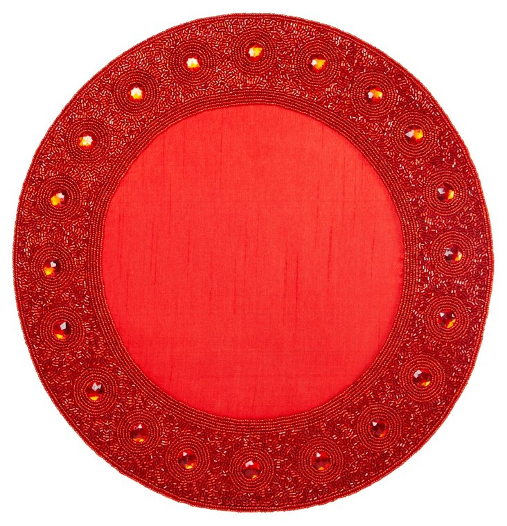 Beaded Circle Place Mat, Red