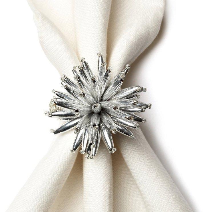 S/4 Starburst Napkin Rings, Silver