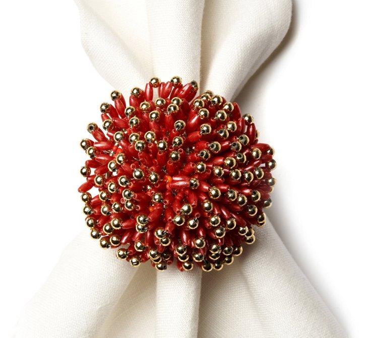 S/4 Sunburst Napkin Rings, Red