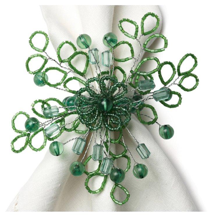 S/4 Flora Napkin Rings, Green