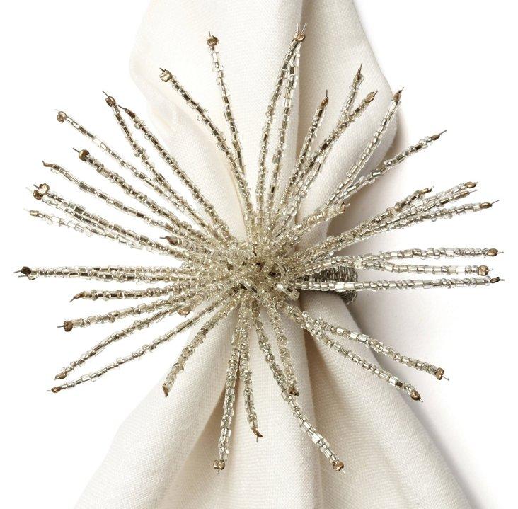 S/4 Burst Napkin Rings, Silver