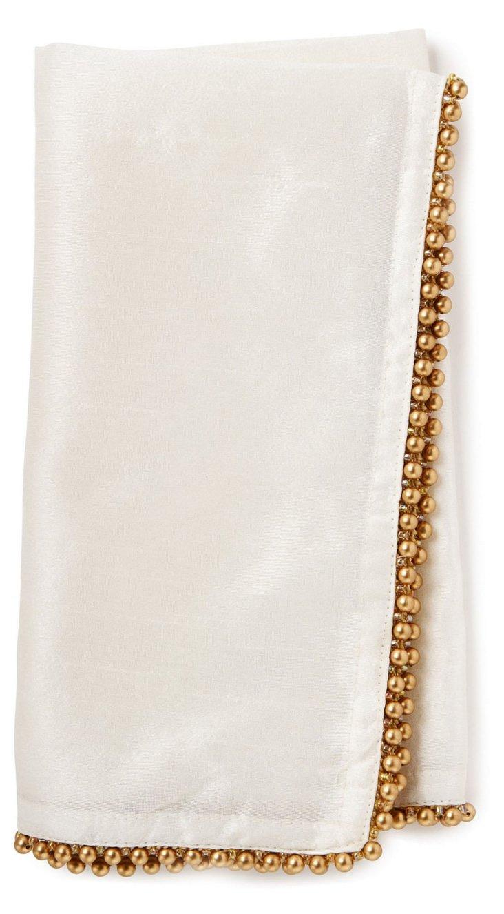 S/4 Gold-Beaded Napkins, Ivory