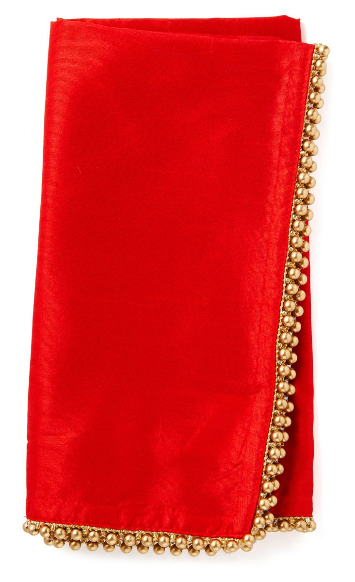S/4 Gold-Beaded Napkins, Red