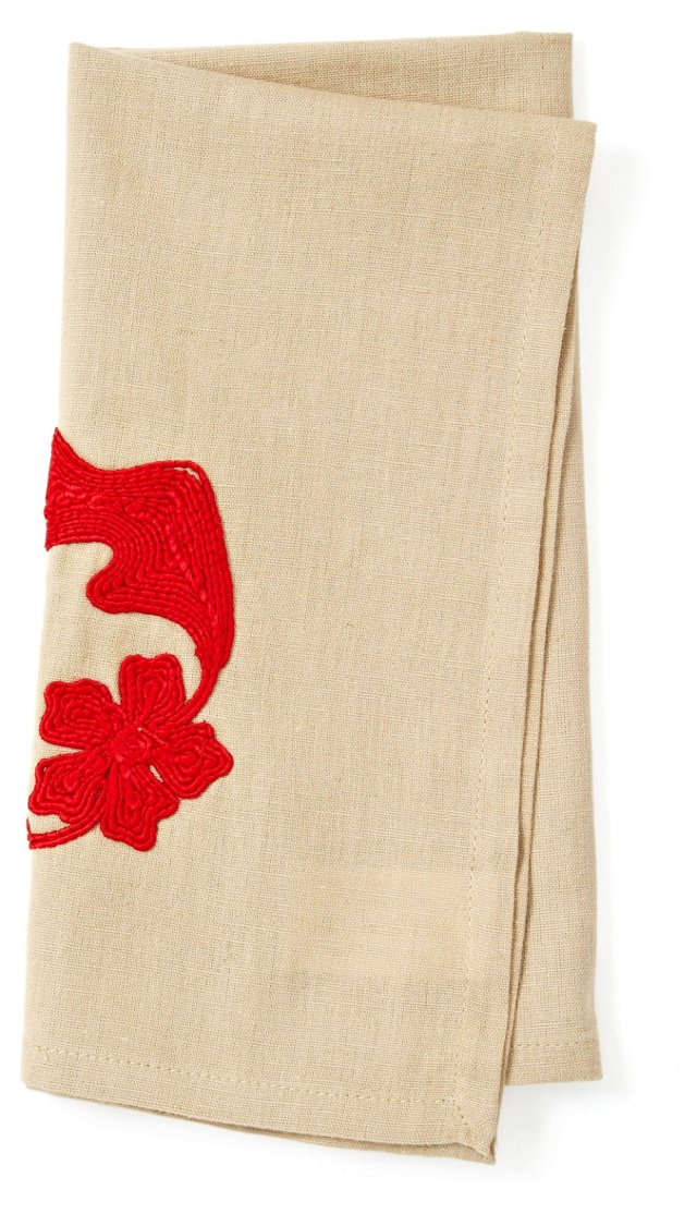 S/4 Dori Embroidered Napkins