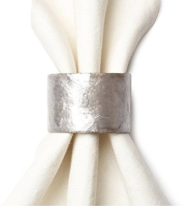 S/4 Capiz Shell Napkin Rings, Silver