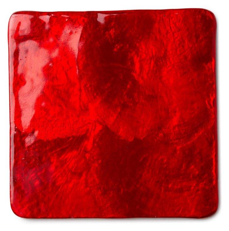 S/4 Capiz Drink Coasters, Red