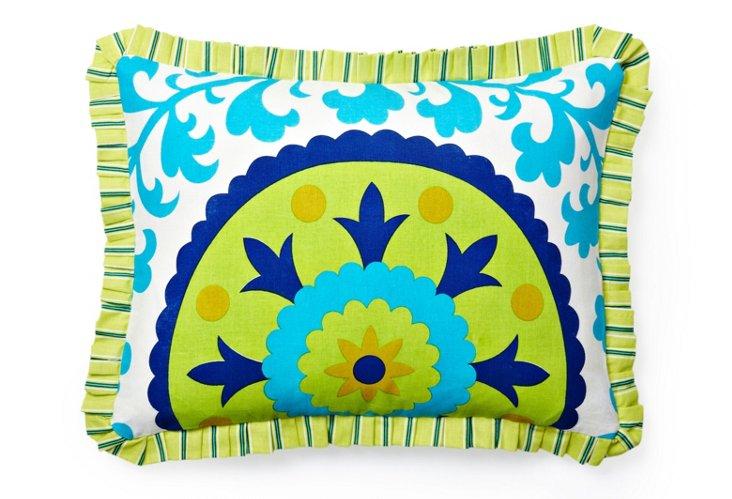 Suzani Pillow, Blue/Lime Green