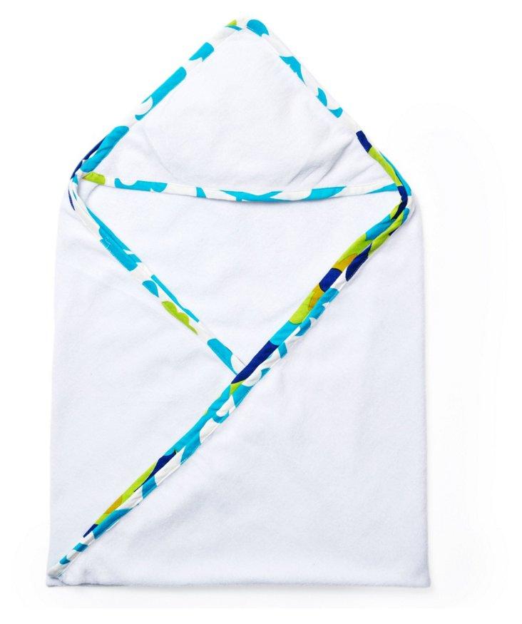 Suzani Hooded Towel, Blue/White