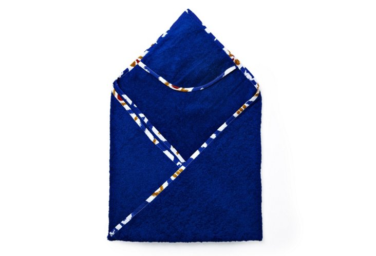 Ikat Hooded Towel, Blue