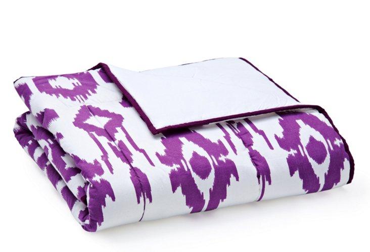 Ikat Quilt, Purple/White
