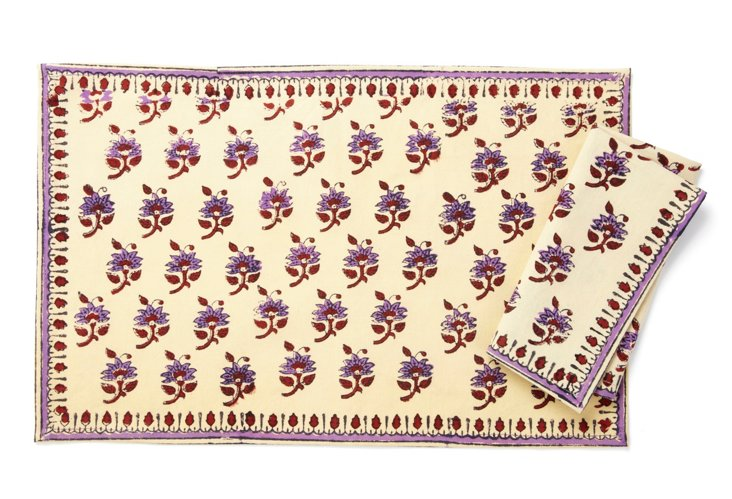 S/6 Carol Place Mats & Napkins, Purple