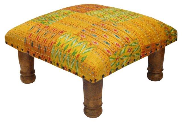 Tulsi Ikat Footstool, Mustard