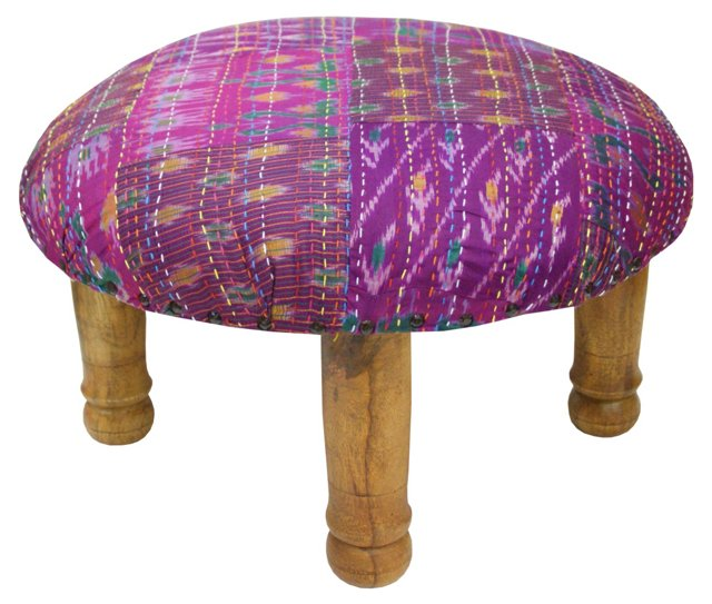 Tulsi Ikat Footstool, Magenta/Multi