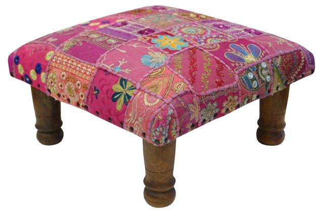 Maurya Patchwork Footstool, Magenta