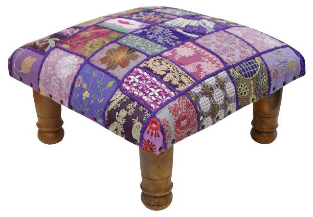 Maurya Patchwork Footstool, Lilac