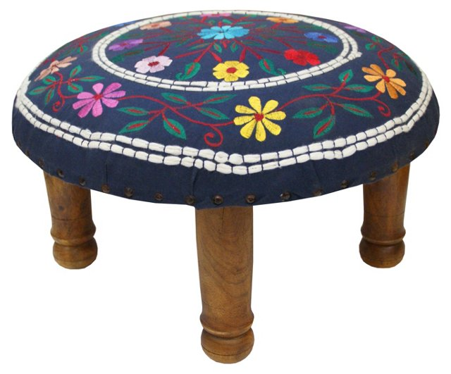 Bagicha Embroidered Footstool, Navy/Mult