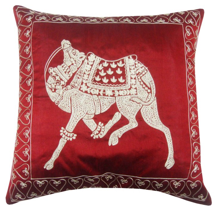Camel 18x18 Embroidered Pillow, Red