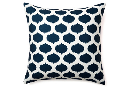 Ikat Dot 20x20 Outdoor Pillow, Navy