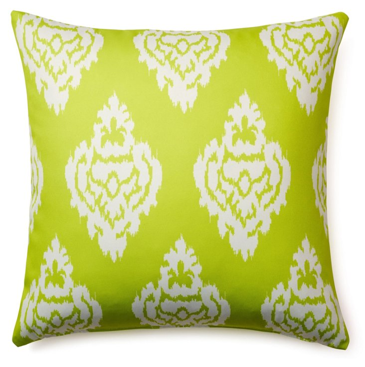 Damask 20x20 Outdoor Pillow, Lime