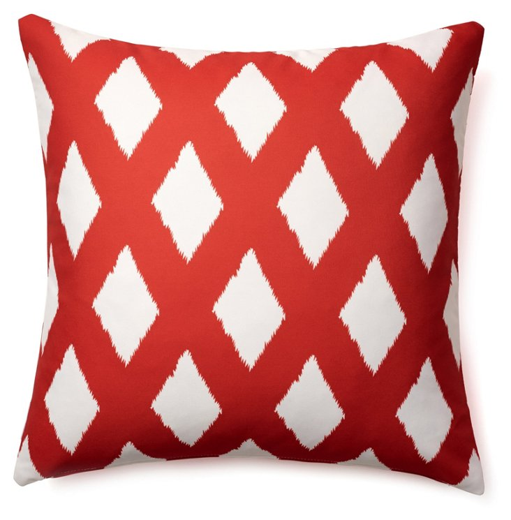 Ribbons 20x20 Outdoor Pillow, Red
